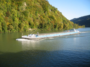 Cargo vessel on the river