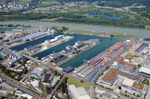 Aerial view port of Linz