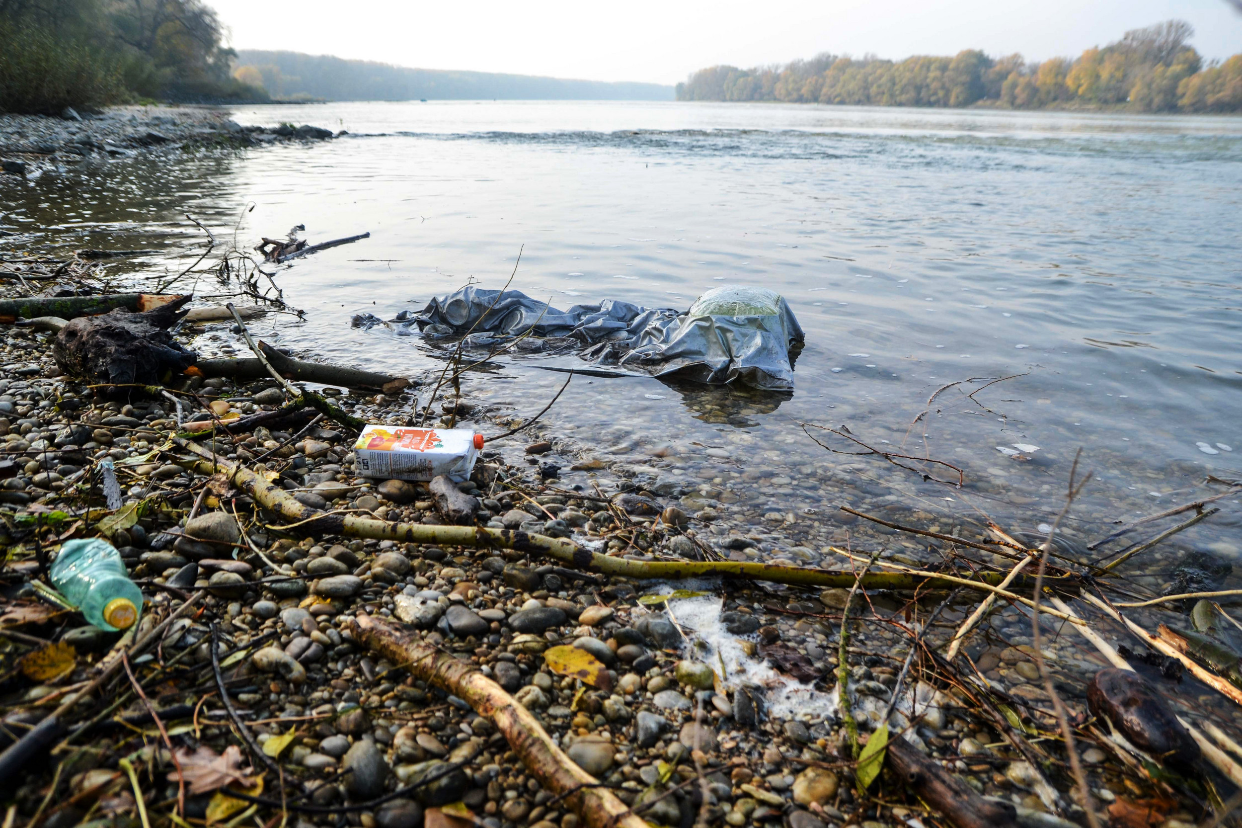 Plastic waste along the riverbank of the Danube