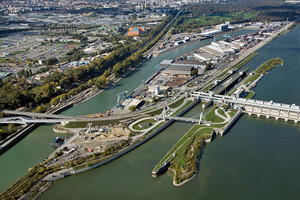 Aerial view port of Vienna